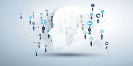 Machine Learning, Artificial Intelligence, Cloud Computing and Networks Design Concept with Human or Robot Face, Icons, World Map and Network Mesh