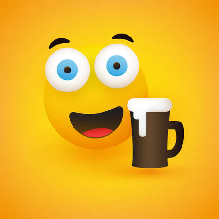Smiling Emoji - Simple Happy Emoticon with Pop Out Eyes and a Glass of Beer on Yellow Background - Vector Design Illustration