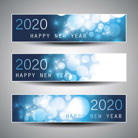 Set of Horizontal Christmas, New Year Headers or Banners Design - 2020