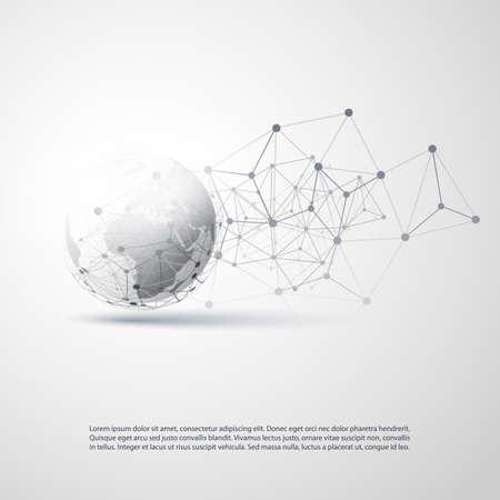 Computación en la nube de estilo minimalista moderno en blanco y negro, estructura de redes globales - diseño de concepto de telecomunicaciones, conexiones, estructura metálica geométrica transparente - ilustración vectorial