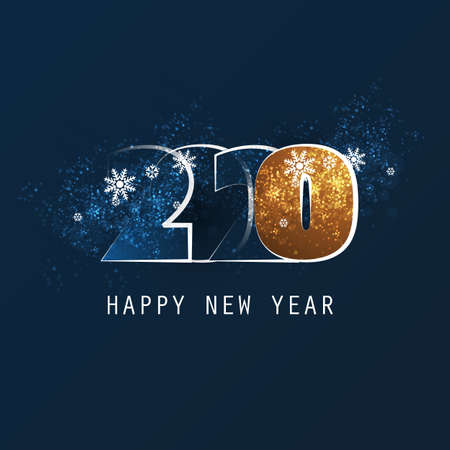 Blue and Golden New Year Card, Cover or Background Design Template With Snowflakes - 2020