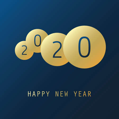 Best Wishes - Simple Dark Blue and Golden New Year Card, Cover or Background Design Template with Numerals - 2020 Illustration