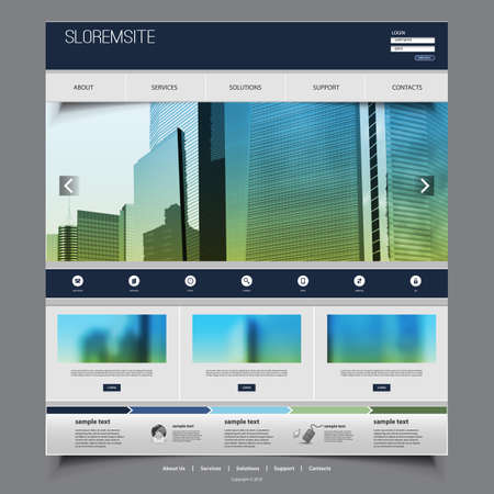 Website Template Design for Your Business with Skyscrapers -  Vector Illustration