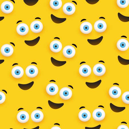 Seamless Pattern of Smiling Emoji with Pop Out Eyes on Yellow Background