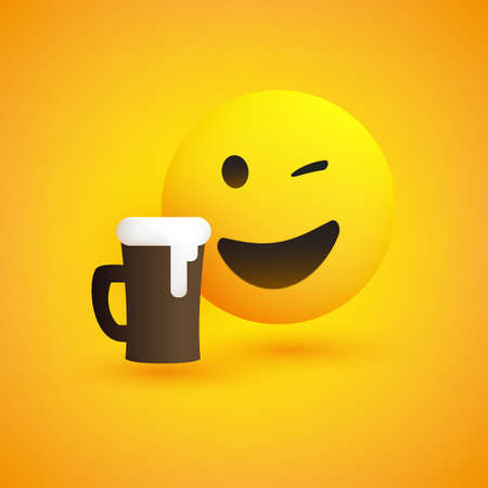 Smiling and Winking Emoji with a Glass of Beer - Simple Shiny Happy Emoticon on Yellow Background - Vector Design