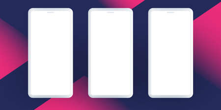 White, Dark Blue and Purple Advertising, Poster or Banner Template Design with Three Smartphone Silhouettes for Your Business Project - Vector Illustration