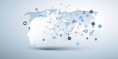 Machine Learning, Artificial Intelligence, Cloud Computing and Networks Design Concept with Human or Robot Face Silhouette, Icons, World Map and Network Mesh