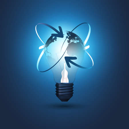 Abstract Cloud Computing, Electric and Global Network Connections Concept Design with Earth Globe Inside a Glowing Light Bulb and Arrows - Illustration in Editable Vector Format Ilustrace