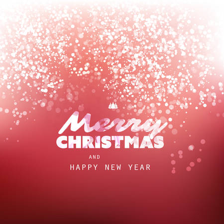 Red and White Happy Holidays, Merry Christmas Greeting Card With Label on a Sparkling Blurred Background
