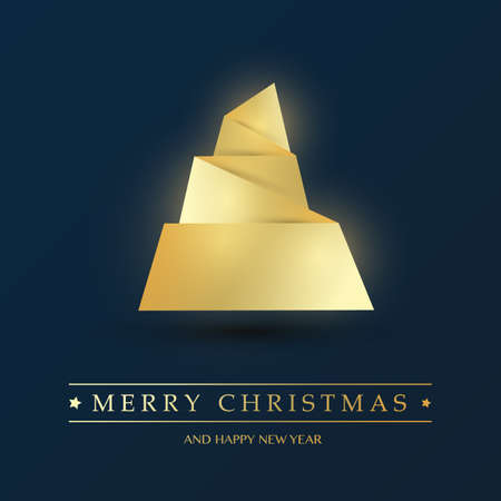 Golden and Dark Blue Origami Christmas Tree Card - Design Template