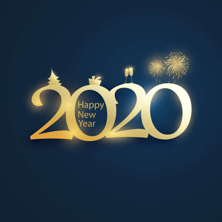 Simple Golden and Dark Blue New Year Card, Cover or Background Design Template With Christmas Tree, Gift Box, Drinking Glasses And Fireworks Icons 向量圖像