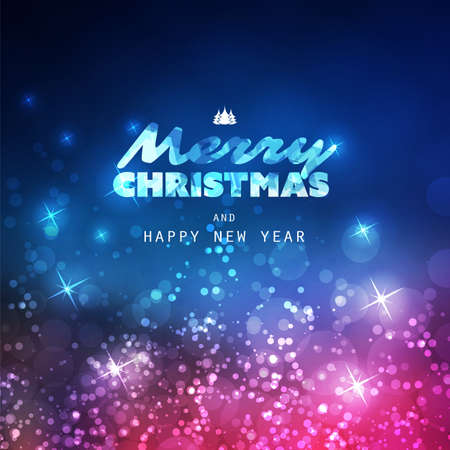 Colorful Happy Holidays, Merry Christmas Greeting Card With Label on a Sparkling Blurred Background 일러스트