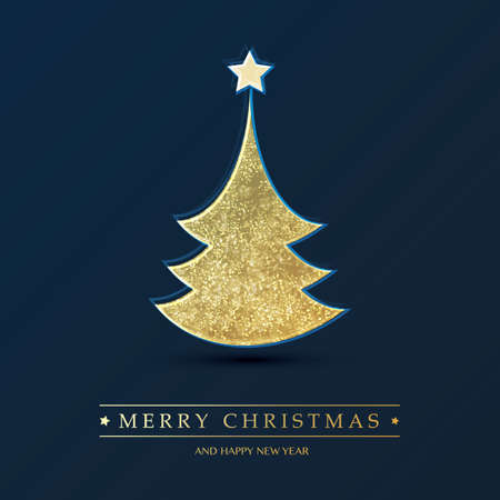 Golden and Dark Blue Happy Holidays, Merry Christmas Greeting Card Design Template