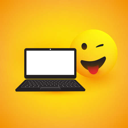 Emoji, Emoticon with Winking Eye and Laptop Computer on Yellow Background - Vector Design Stock Vector - 134755261