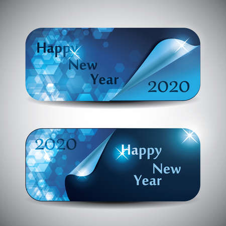 Set of Horizontal New Year Headers or Banners - 2020