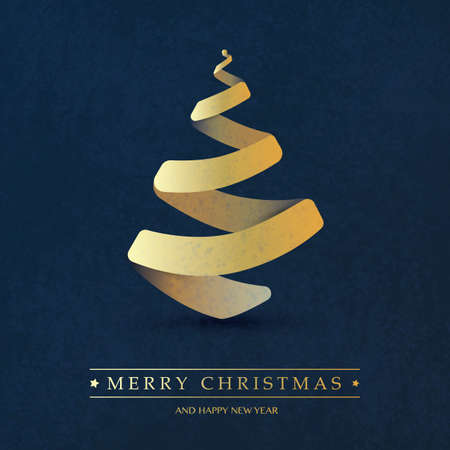 Cover, Invitation, Poster, Banner, Flyer, Placard Design with Christmas Tree Composition - Dark Blue and Golden Colors, Paper Cut Style, Vector Illustration