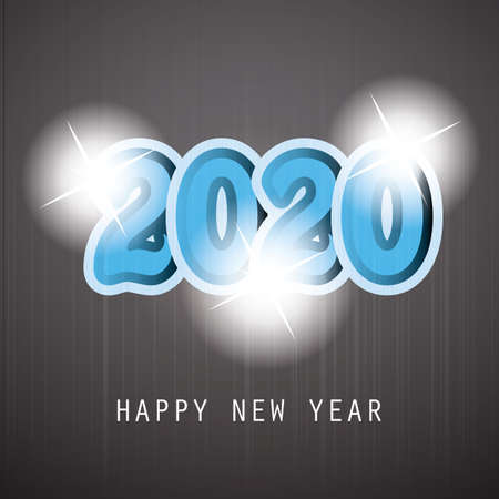 Simple Blue and White New Year Card, Cover or Background Design Template With Round Numerals - 2020 Иллюстрация