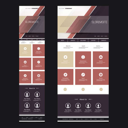 Responsive One Page Website Template - Striped Abstract Header Design - Desktop and Mobile Version