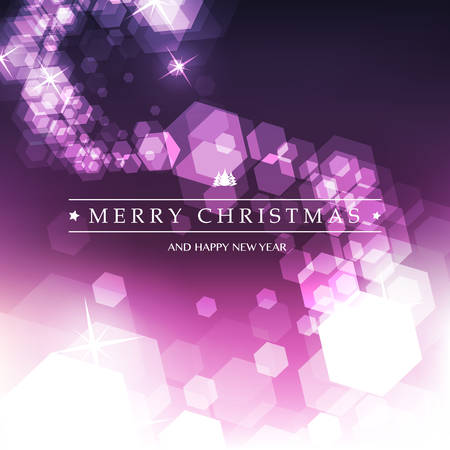 Happy Holidays, Merry Christmas Greeting Card With Label on a Sparkling Blurred White and Purple Background