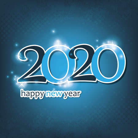 Light and Dark Blue Happy New Year Card, Cover or Background Design Template - 2020 일러스트