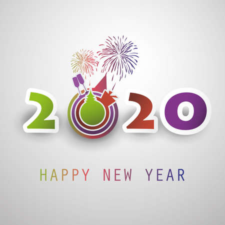 Best Wishes - Abstract Modern Style Happy New Year Greeting Card or Background, Creative Design Template - 2020