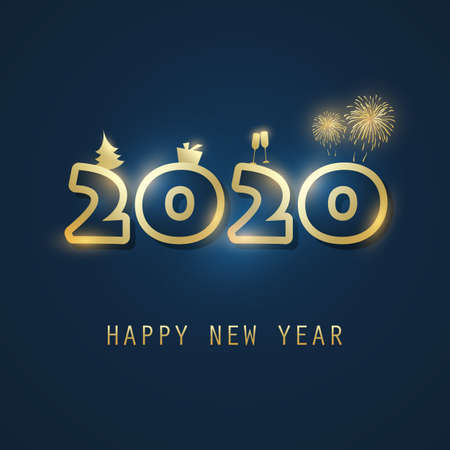 Simple Golden and Dark Blue New Year Card, Cover or Background Design Template With Christmas Tree, Gift Box, Drinking Glasses And Fireworks Icons - 2020