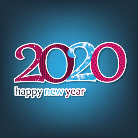 Blue and Purple Happy New Year Card, Cover or Background Design Template - 2020
