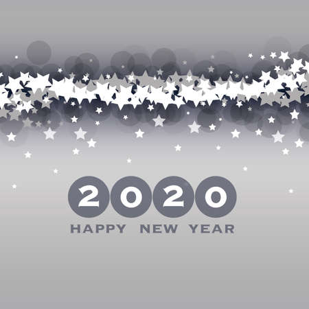 Best Wishes - New Year Card, Cover or Background Design Template with Stars - 2020