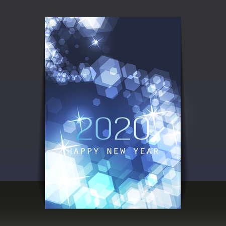 Diseño de volante, tarjeta o portada de año nuevo con patrón borroso de cristales de hielo congelados - 2020