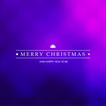Best Wishes - Purple Modern Style Happy Holidays, Merry Christmas Greeting Card with Label on a Blurred Background