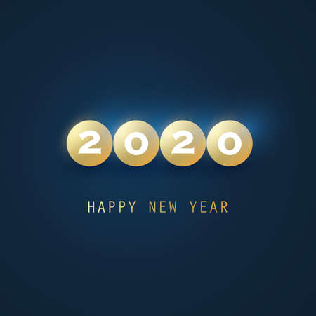 Golden and Dark Blue New Year Card Background - 2020