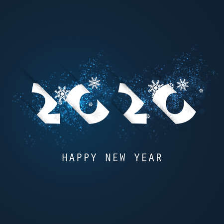 Best Wishes - Abstract White and Dark Blue Modern Style Happy New Year Greeting Card or Background, Creative Design Template - 2020