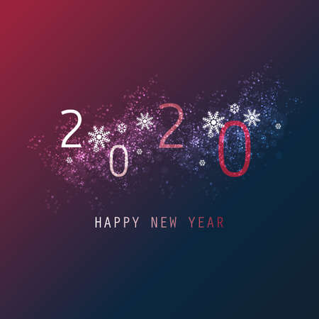 Simple White, Claret and Dark Blue New Year Card, Cover or Background Design Template - 2020 일러스트