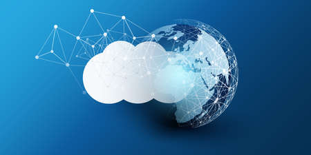 Cloud Computing Design Concept - Digital Connections, Technology Background with Earth Globe, World Map and Geometric Network Mesh