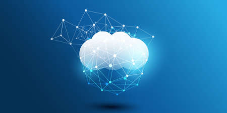 Cloud Computing Design Concept - Digital Connections, Technology Background with Geometric Network Mesh