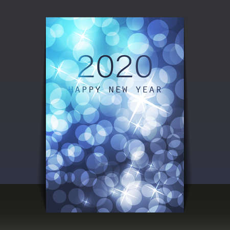 Ice Cold Blue Pattered Shimmering New Year Card, Flyer or Cover Design - 2020 Stock Illustratie