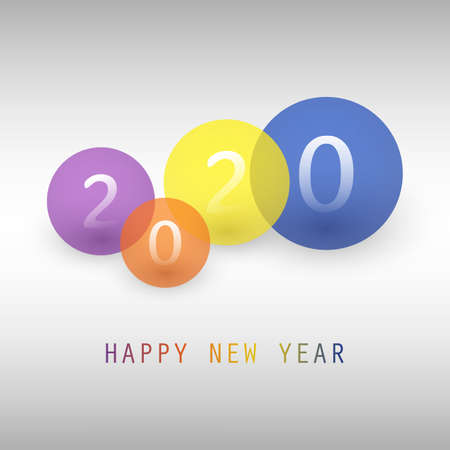 Best Wishes - Simple Colorful New Year Card, Cover or Background Design Template with Numerals - 2020