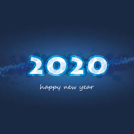 Best Wishes - Abstract Modern Style Happy New Year Greeting Card or Background, Creative Design Template with Stars - 2020
