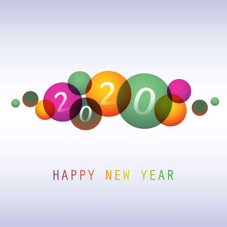 Best Wishes - Colorful Abstract Modern Style Happy New Year Greeting Card, Cover or Background, Creative Design Template - 2020