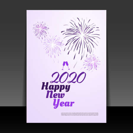 New Year Card Background - Flyer Design with Fireworks - 2020