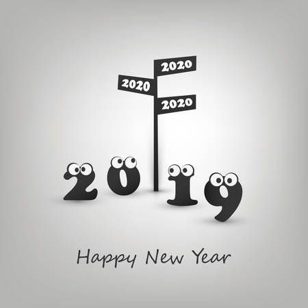 Where Do We Go Next Year - Road Sign and Numerals with Rolling Eyes - Abstract Modern Style Funny Happy New Year Greeting Card or Background Concept, Creative Design Template - 2020