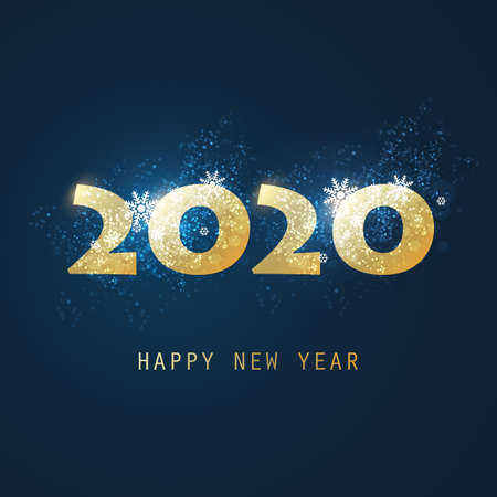 Best Wishes - Abstract Golden and Dark Blue Modern Style Happy New Year Greeting Card or Background, Creative Design Template - 2020