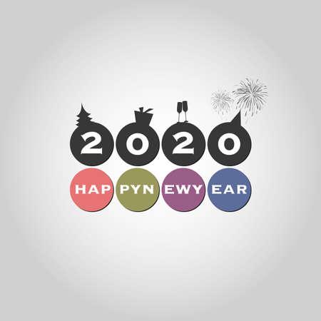 Beste wensen - Moderne eenvoudige minimale gelukkige nieuwjaarskaart of achtergrondsjabloon - 2020