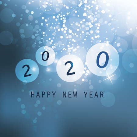 Best Wishes - Blue Abstract Modern Style Happy New Year Greeting Card, Cover or Background, Creative Design Template - 2020