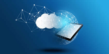 Cloud Computing Design Concept - Digital Connections, Technology Background with Tablet PC and Geometric Network Mesh
