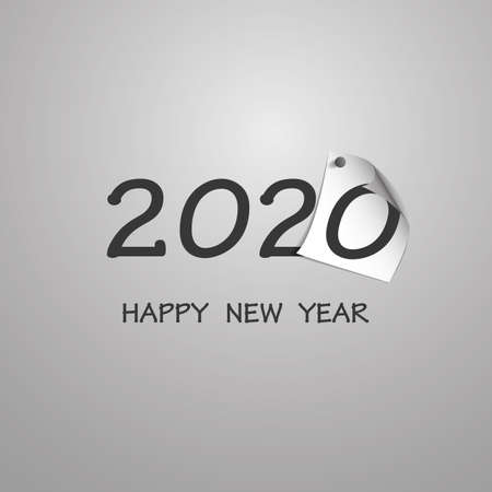Best Wishes - Abstract Silver Grey New Year Card Template Design with Numerals Printed on Curled Pinned Note Paper - Greeting Card for Year 2020