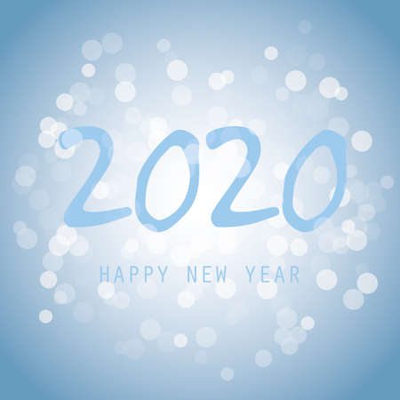 Light Blue Glittering New Year Card Background - 2020