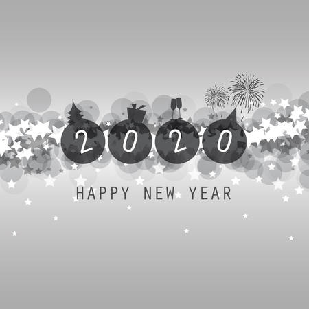 Modern Style SIlver Grey New Year Card, Cover or Background Design Template - 2020 Çizim