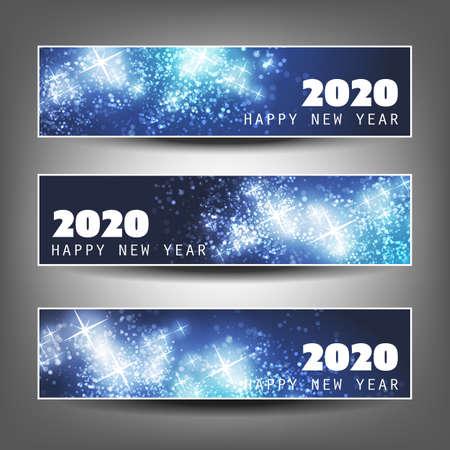 Set di intestazioni orizzontali di Natale, Capodanno o banner Design - 2020