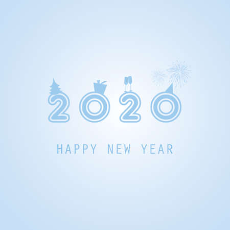 Best Wishes - Abstract Blue Modern Styled New Year Card, Cover or Background Design Template with Numerals - 2020 Illustration